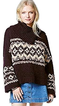 5522ba56d661 Free People Fair Isle Cowl-Neck Button-Detail Top XS at Amazon ...
