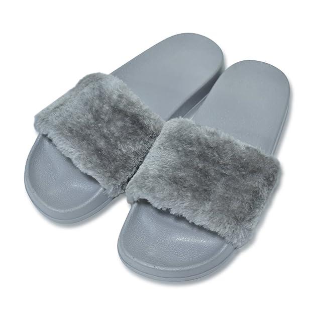 ONCAI Di Finto Pelo Sandalo Pantofole Da Donna (37.5, Bianco)