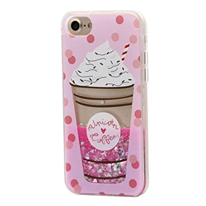 Keyihan iPhone 6 6S Funda Carcasa para niña, Linda Estilo Rosa Diseño Creativo Líquido Fluido Arena movediza Parachoques Duro con Borde Suave para ...