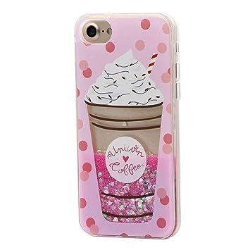 Keyihan iPhone 6 Plus / 6S Plus Funda Carcasa para niña, Linda Estilo Rosa Creativo Líquido Fluido Arena movediza Parachoques Duro con Borde Suave ...