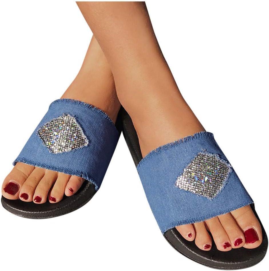 Womens Denim Flat Slippers Retro Cloth Rhinestone Beaded Slingback Flip Flops Comfy Lightweight Slip On Sandals Beach Party Shoes
