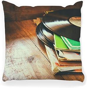 Decorative Throw Pillow Cover Square 20x20 Stack Record Top Vintage Filtered Music Player Nostalgia Album 60s Retro Dj Old Vinyl 1960s Fashion Home Decor Zippered Pillowcase