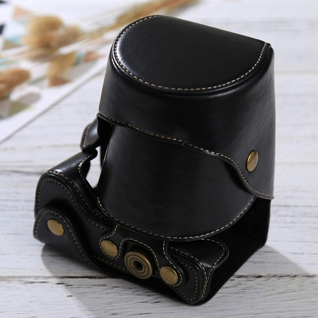 Black Color : Coffee Ychaoya Camera Bag Wuzpx Total Body Camera PU Leather Case Bag with Strap for Sony ILCE-6500 A6500