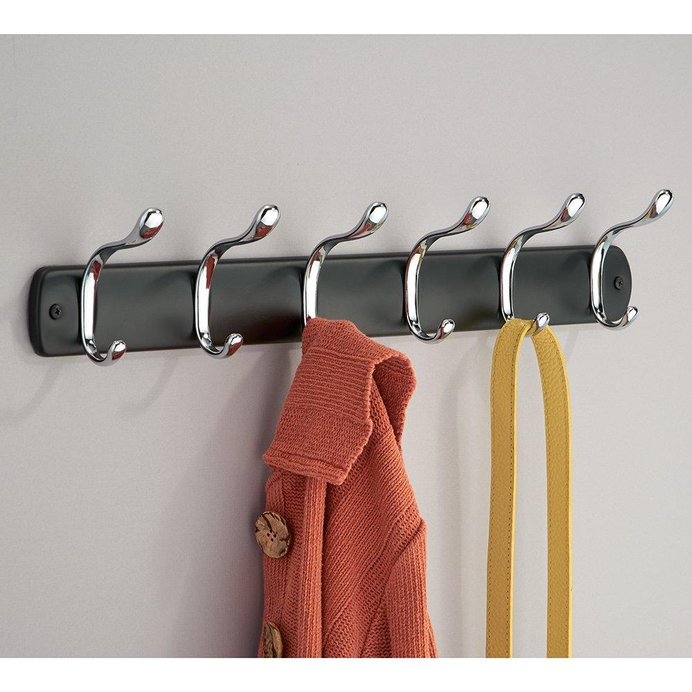 InterDesign Bruschia Colgador de Pared, Perchero de Metal con 6 Ganchos para Colgar, Negro Mate/Plateado: Amazon.es: Hogar