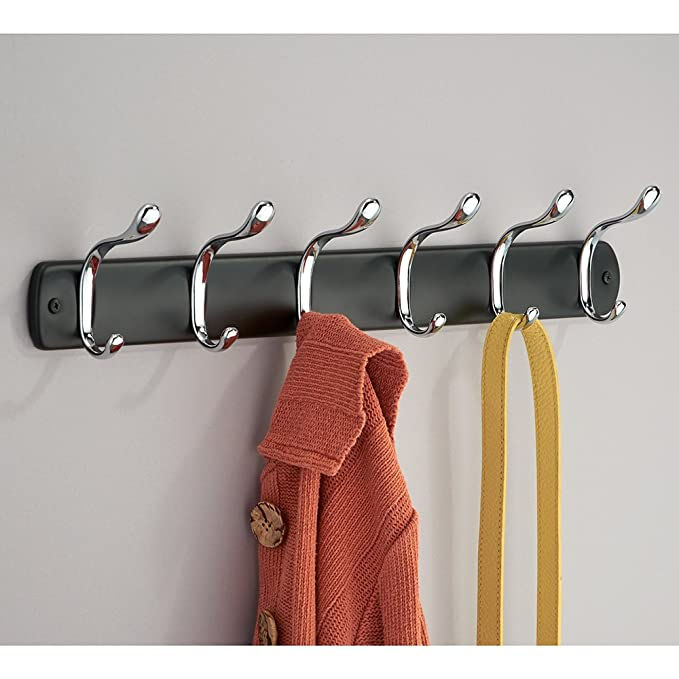 InterDesign Bruschia Wall Mount Storage Rack – Hanging Hooks for Jackets, Coats, Hats and Scarves - 4 Dual Hooks, Matte Black/Chrome
