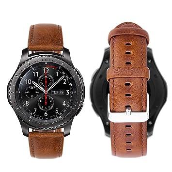 iBazal Gear S3 Frontier Classic Correa Cuero Piel 22mm Compatible con Samsung Galaxy Watch 46mm Reemplazo para Huawei GT/2 Classic/Honor ...
