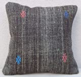 Kilim Pillow – 16''x16'' Antique Grainsack French Country Decor Kilim Throw Pillow Cover 40x40