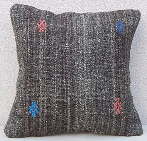 Kilim Pillow – 16''x16'' Antique Grainsack French Country Decor Kilim Throw Pillow Cover 40x40 by PillowsStore