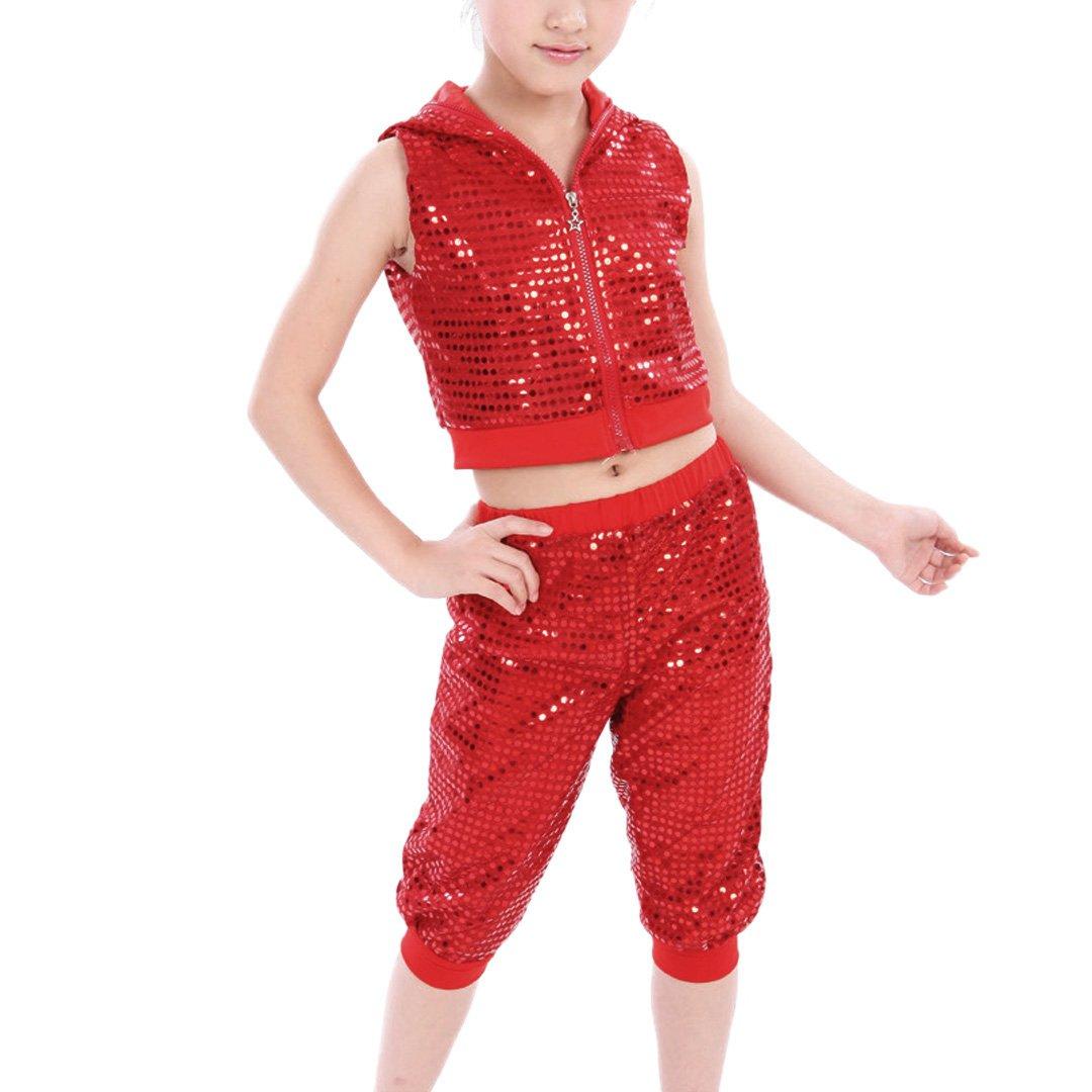Mocure Children's Sequins Hip-hop Jazz Costumes Street Dancing Bare-midriff Accessory Hooded Zipper Vest Pants Set