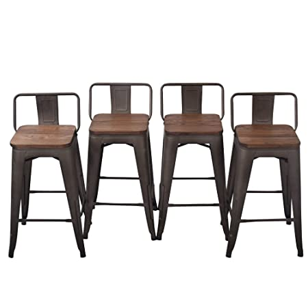 Tongli Metal Barstools Set Industrial Counter Stool Pack of 4 Patio Dining Chair Wooden Low Back Set of 4 26