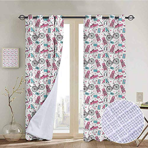 - NUOMANAN Blackout Lined Curtains Bicycle,Teenager Girls Hipster Pink Casual Shoes Bicycle Birds Headphones Glasses Camera,Multicolor,Thermal Insulated,Grommet Curtain Panel 1 Pair 52