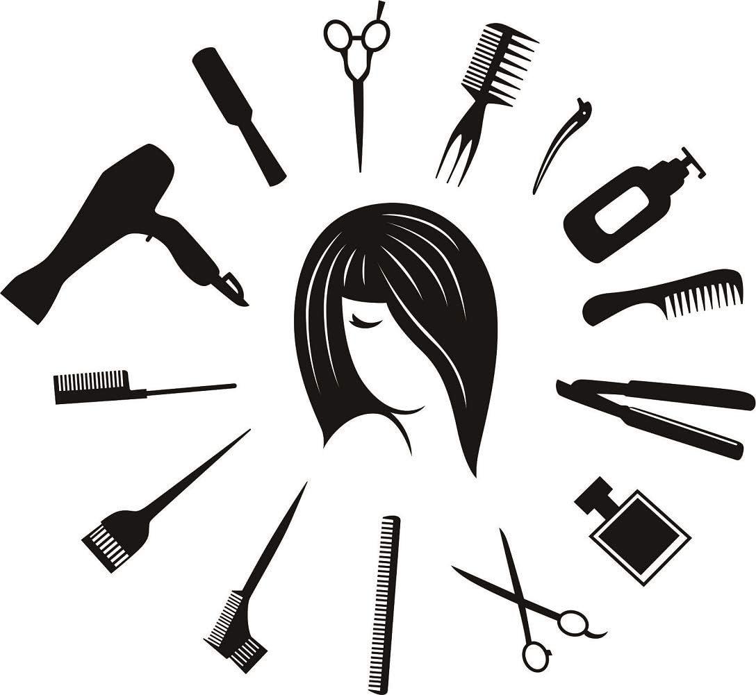 Attractive Wall Sticker Quote Hair Stylist Wall Mural Clock Shape Beauty Salon Room Decor Hair Salon Hair Tools Vinyl Decal
