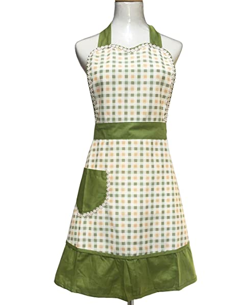 Hyzrz Lovely Sweetheart Retro Kitchen Aprons Woman Girl Cotton Cooking  Salon Pinafore Vintage Apron Dress with Pocket,Green