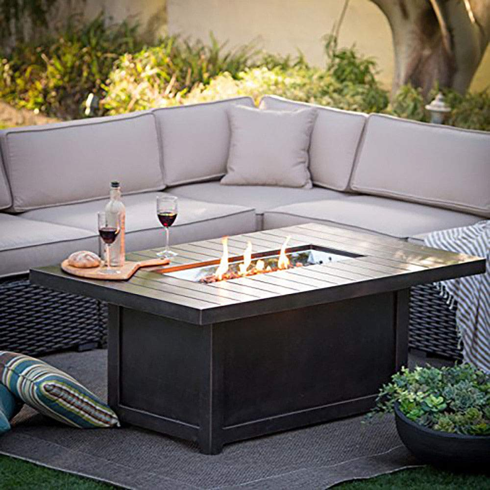 Amazon.com: MRT SUPPLY St.Tropez Outdoor Recantangular Patio Fireplace Fire Pit, Rustic Bronze with Ebook: Garden & Outdoor