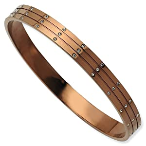 Stainless Steel Polished Brown Plated with CZ Slip On Bangle Bracelet