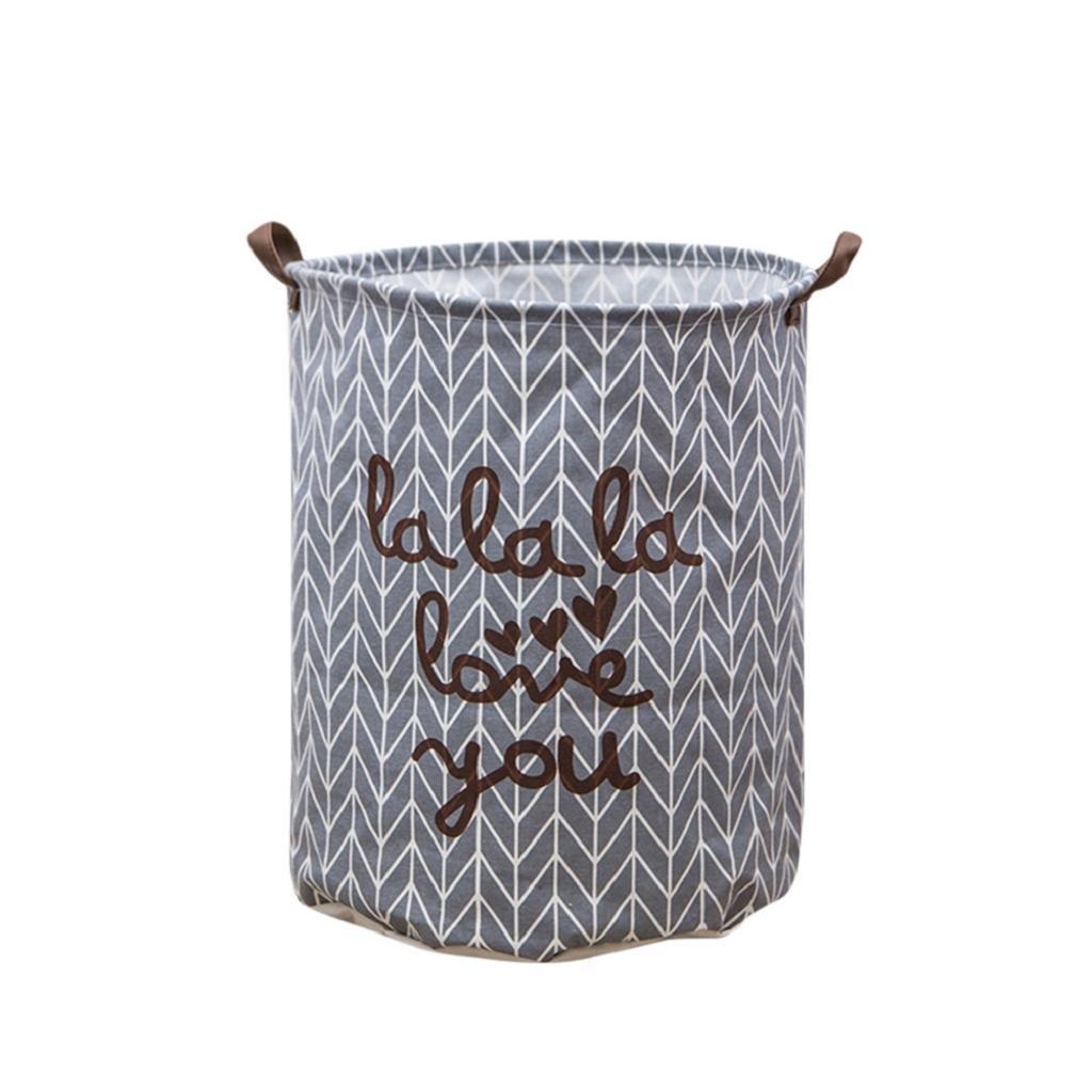 QUICKLYLY Cesto Para Guardar Ropa Sucia Plegable con Forro Impermeable,Algodón, Lona Forma de Cubo CilíNdrico con Asa (A)