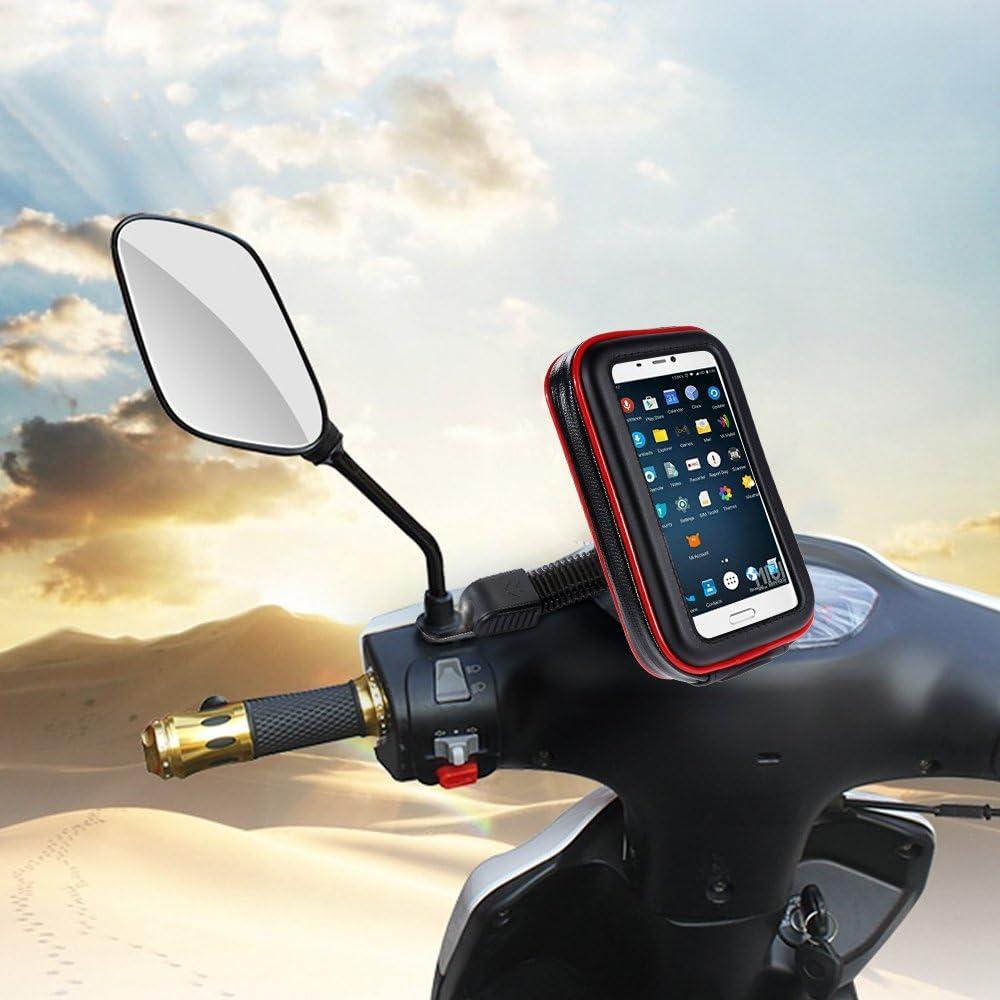 10 3cm,de Billetera Incorporada y Bosillo para Moviles 4.6-5.4 pulgadas Funda motociclera de Pl/ástico Transparente,360/°Giratorio,16.5 Zacro Funda M/óvil Soporte de Motocicleta