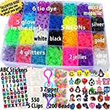 Talented Kidz 11,750+ Authentic Rainbow Mega Refill Loom: Set w/10,750 Premium Quality Rubber Bands, 30 Charms, 200 Beads, ABC Stickers to Personalize Your Case, 550 Clips, 3 Backpack Hooks, Organizer