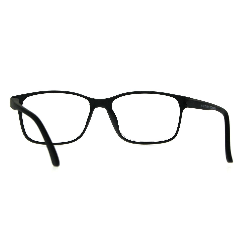 eb969524e9d Amazon.com  Mens Narrow Rectangular Thin Plastic Reading Glasses Black +1.0   Clothing