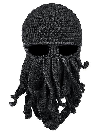 Ateid Inverno Cappello di lana Maschera da Polpo Barba Nero