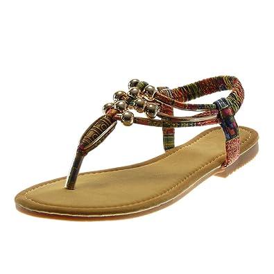 5c88c52cb89 Angkorly Chaussure Mode Sandale Tong Slip-On Salomés Lanière Cheville Femme  Perle Fantaisie Doré Talon