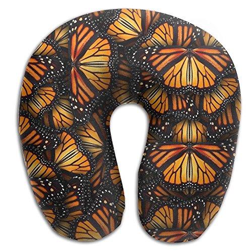 Comfortable Travel Pillow, Master Neck Pillow, A Orange Butterflies Memory Foam Pillow For Travel, Home, Neck Pain
