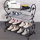 AISHN Continental Iron Multi-layer Simple Shoe Rack Storage Metal Small Four Quarters Shoe Stand (Black)