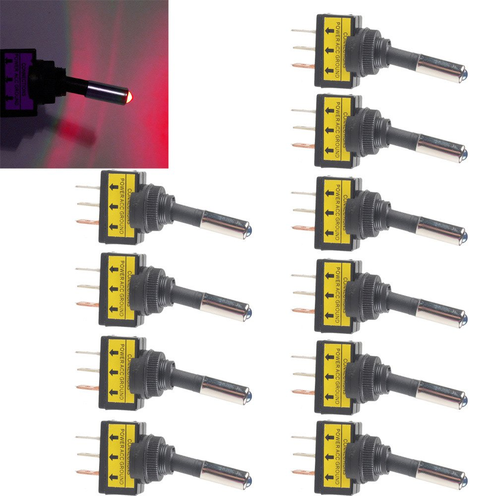 Etopars 10 X Car Motor Auto Push Button Rocker Toggle Switch 12V 20A White LED Light