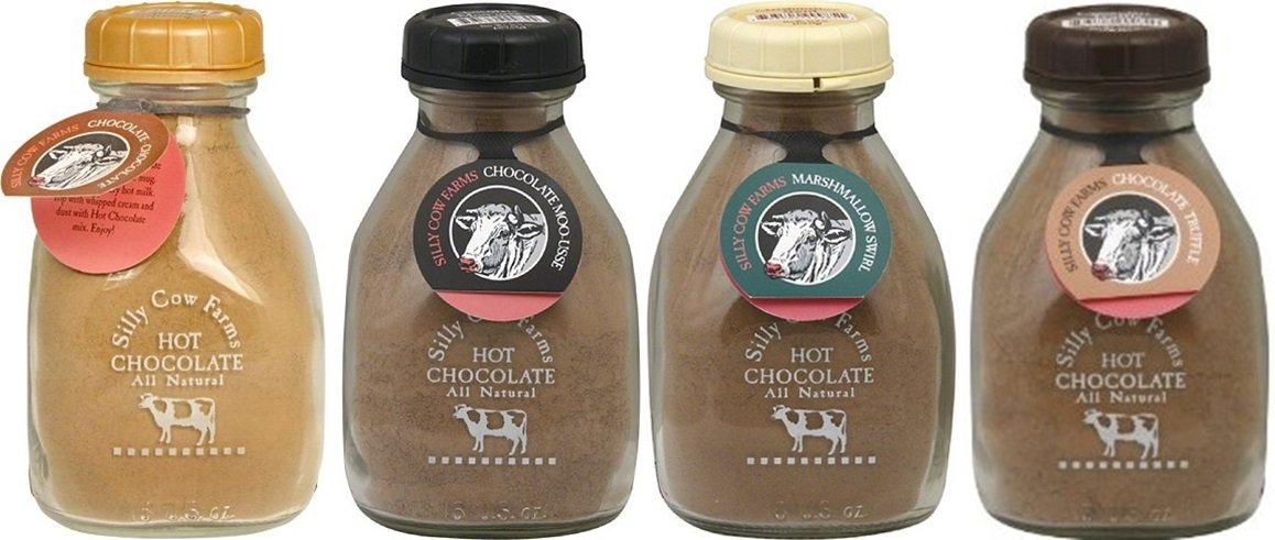 CDM product Silly Cow Farms Sampler Pack of Hot Chocolate 16.9oz Glass Jar (Variety Pack of 4 Different Flavors) big image