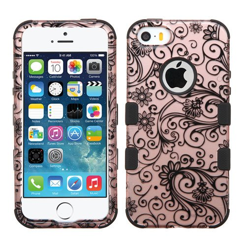Clover Glass - MYTURTLE Hybrid Phone Case for Apple iPhone SE 5S 5 Shock-Absorption Anti-Scratch Bumper Back Cover Bundled with New Generation [9H Flexible Nano Glass] Screen Protector, Rose Gold Clover Flowers