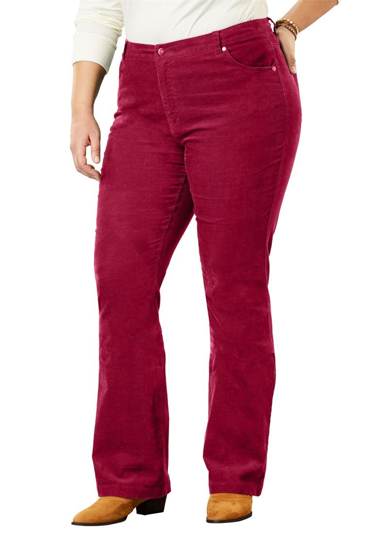 Women's Plus Size Tall Bootcut Stretch Corduroy Jeans Rich Burgundy,22 T