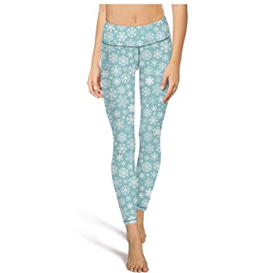 d7a89d6d4 PLOKINC Yoga Pants for Women for Womens Workout Capris Christmas Snowflakes  Image Dark Blue High Waist