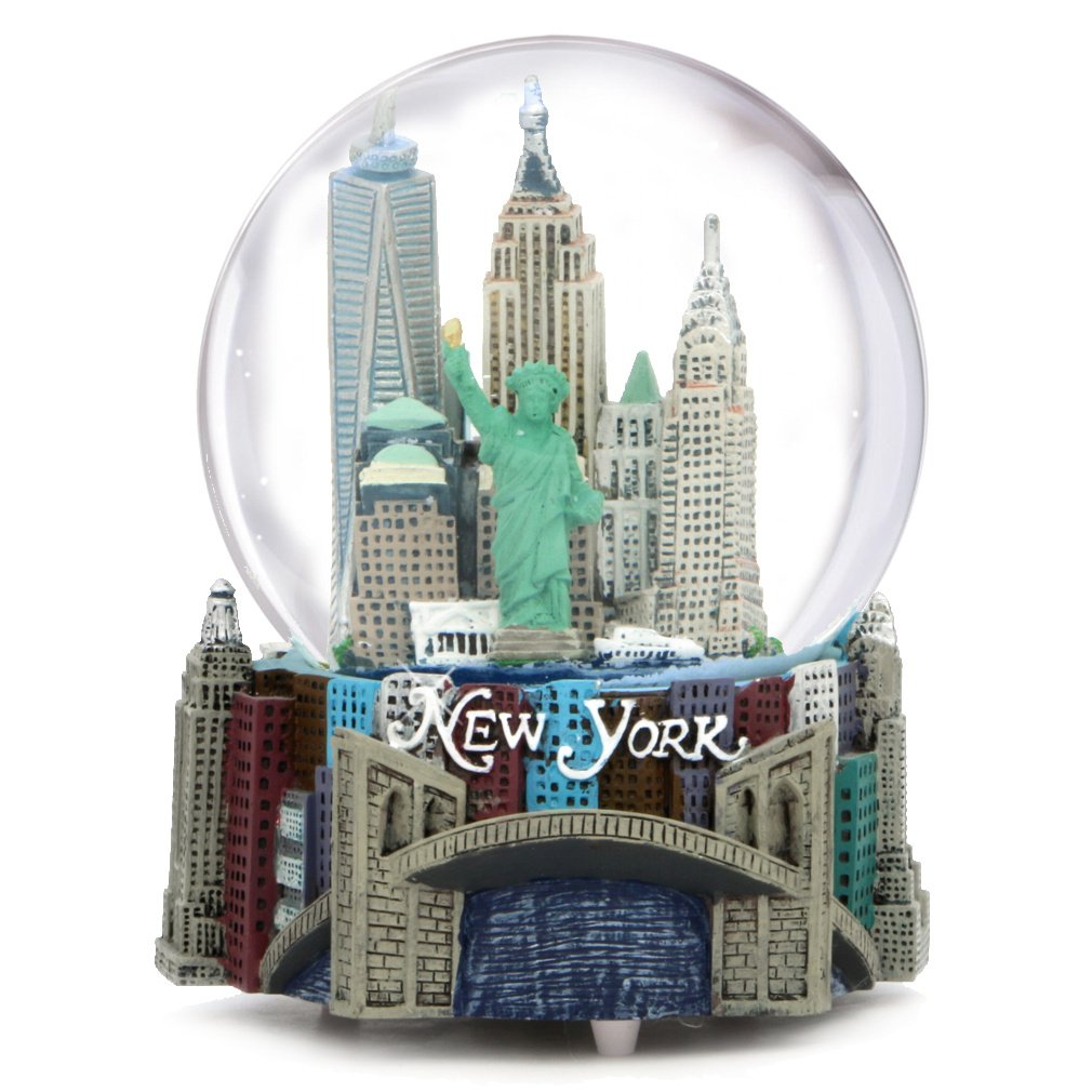 "Musical New York City Snow Globe  100mm New York City Snow Globes  5.5 Inches Tall  PLAYS ""NEW YORK  NEW YORK"" City-Souvenirs WG037"