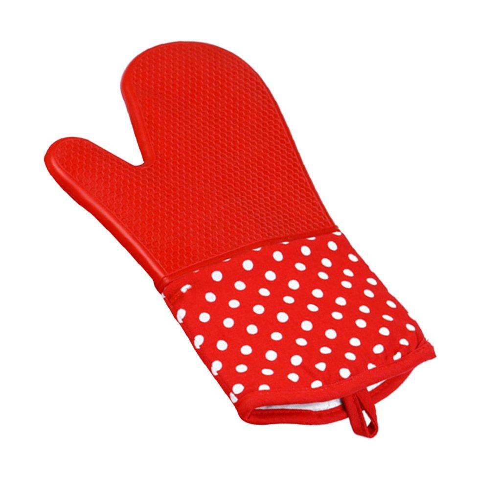 Rot und Punktmuster H/ände und Handgelenke vor Verbrennungen Baoblaze 1 Stk W/ärmebest/ändiger Kochhandschuh Flexibel und atmungsaktiv Punktmuster Ofenhandschuhe sch/ützt Finger