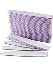 AYITOO Nagelvijlen 100/180 vijlen nagels dubbelzijdige vijlen voor gelnagels nagelvijl professionele Poolse manicure nail art -materiaal schuurpapier vorm diamant kleur grijs/kern lila ..