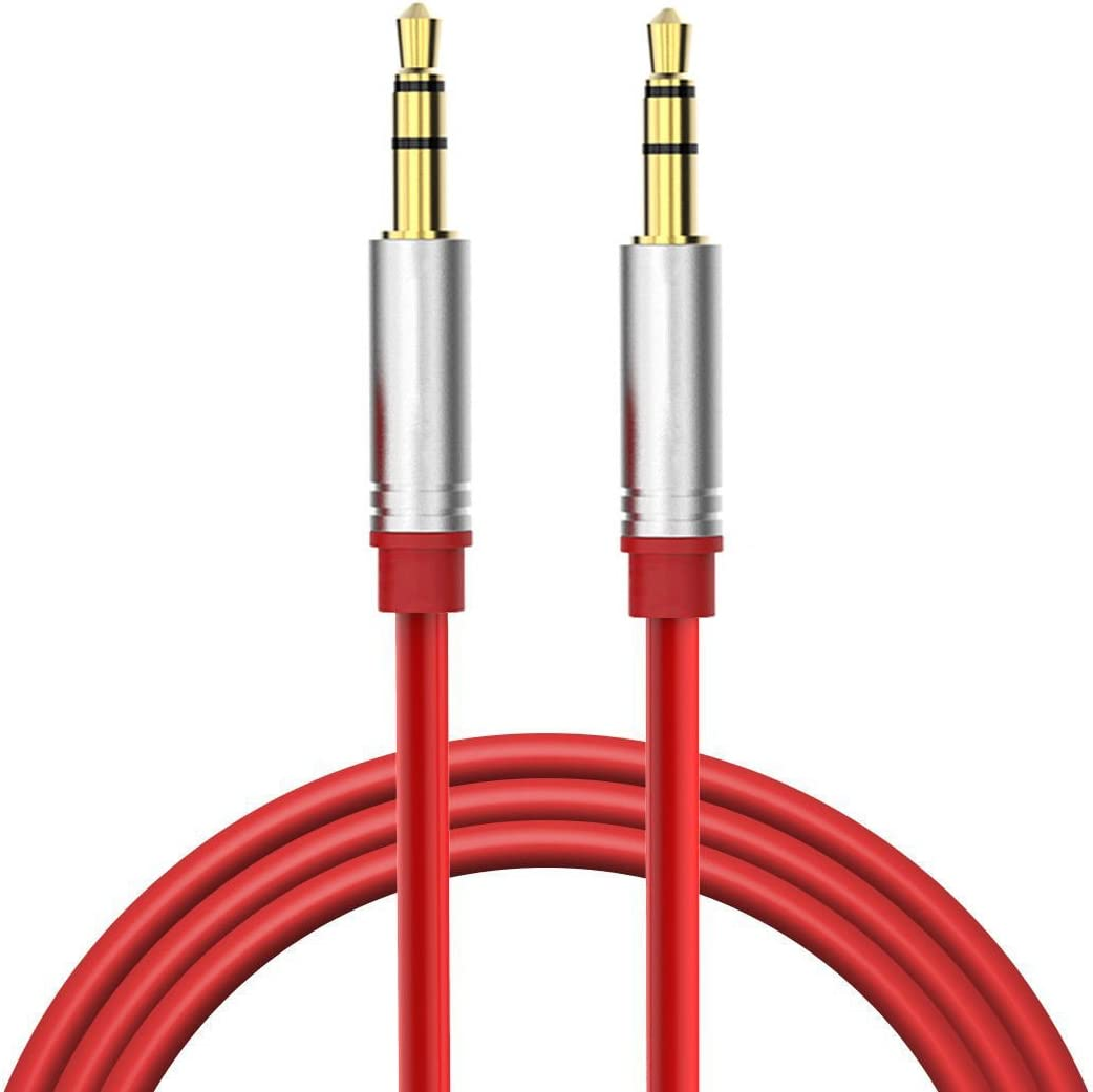 FYL Red 3.5mm Audio AUX Cable for iLuv IMM377 MobiAir MobiRock MobiAria BT Speaker
