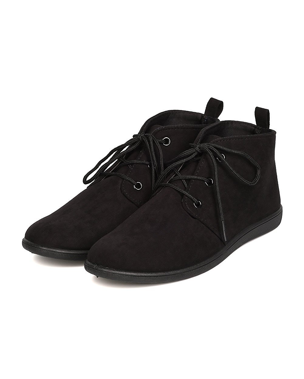 Refresh Women Faux Suede Round Toe Lace Up Desert Bootie FH51 - Black (Size: 6.5)