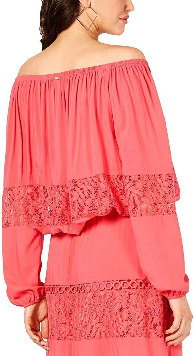 GUESS Womens Viola Eyelet Off The Shoulder Pullover Top Pink L