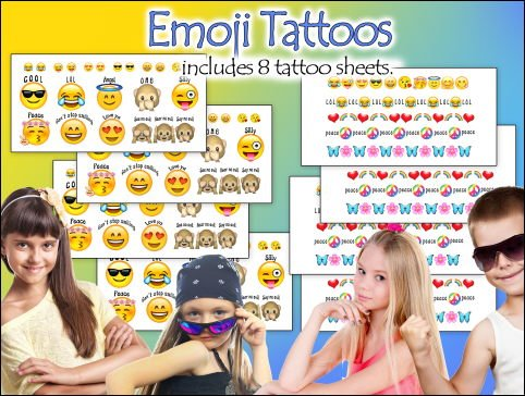 Emoji Tattoos- Made in the USA- over 100 Awesome Emoji Temporary Tattoos!]()