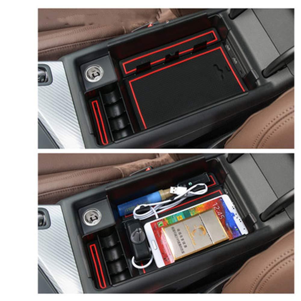 Para A UDI Q3 Caja de almacenamiento del apoyabrazos Con tapete antideslizante Car Central Consola interior para reposabrazos