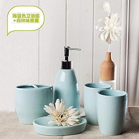 Moderno diseño de 5 piezas de cerámica Set de accesorios de baño, jabonera, porta cepillo de dientes, jabón,F Mar Azul + Aromaterapia: Amazon.es: Hogar