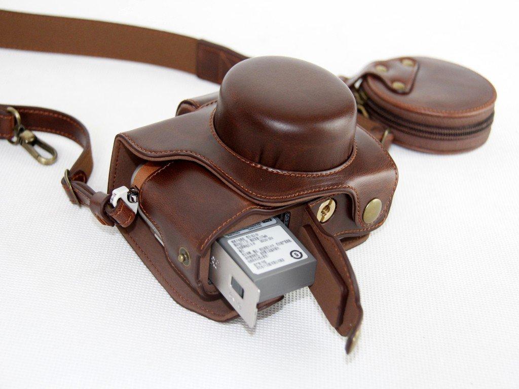 Sch/ützender PU-lederner Kamera-Kasten-Beutel f/ür Olympus PEN Lite E-PL8 EPL8 mit 14-42mm EZ F3.5-5.6 Objektiv mit B/ügel-Gurt und Speicherkarten-Kasten Dunkelbraun
