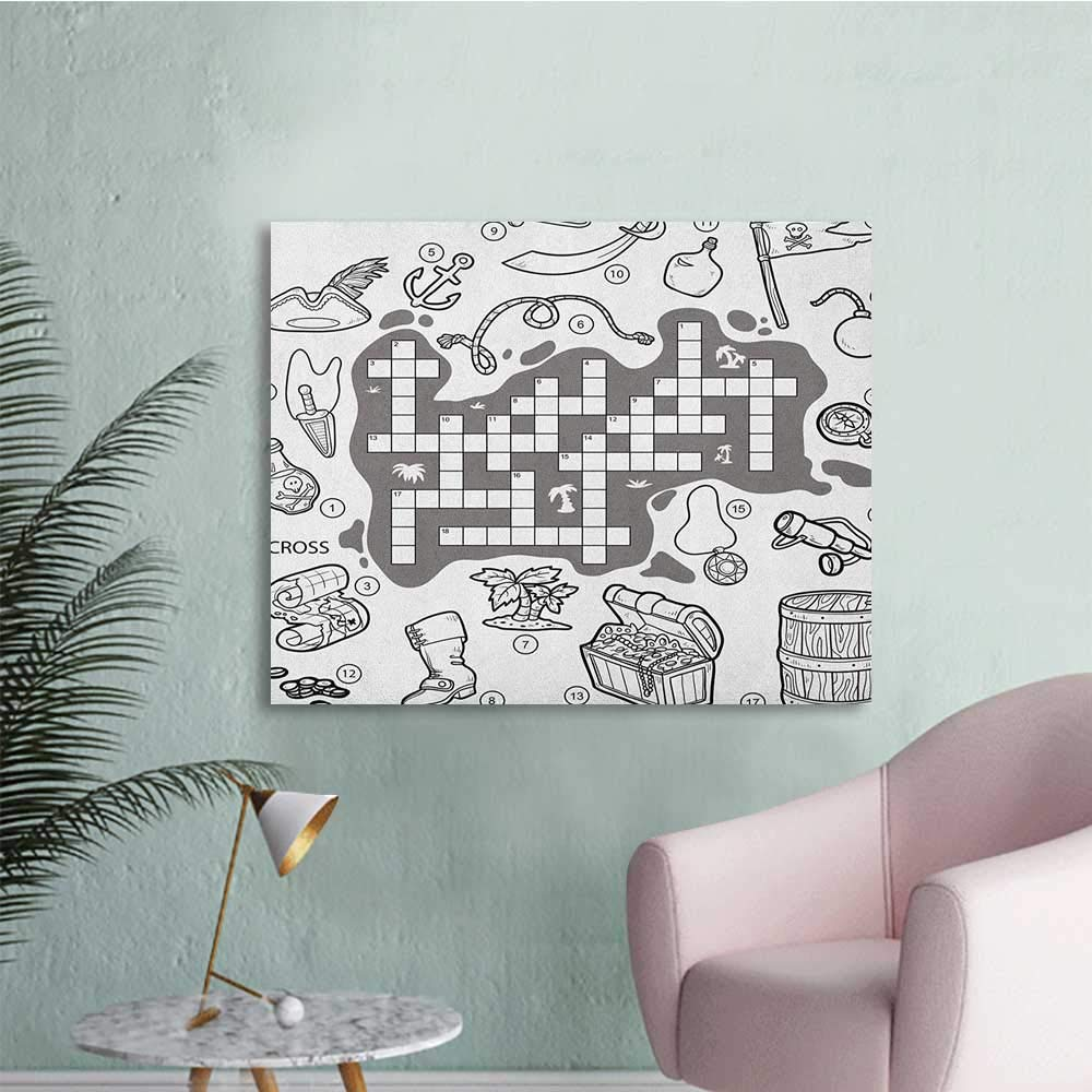 Amazon.com: Anzhutwelve Word Search Puzzle Wallpaper Blank Newspaper Style Crossword Puzzle with Numbers in Word Grid Custom Poster Black and White W36 ...