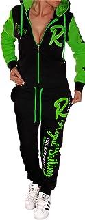 Royal Sailing, tuta da donna, adatta per lo jogging, l'allenamento e il fitness, composta da pantaloni e giacca, nero-verde, XXL (fällt aus wie 46-48) l'allenamento e il fitness XXL (fällt aus wie 46-48) No-Name