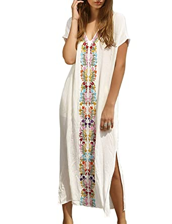 dd6df9f4d744 Chunoy Womens Embroidery V Neck Beach Dress Kimono Cardigan Long Cover Up