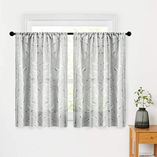 Amazon Com Mrtrees Printed Sheer Curtains Linen Textured Short