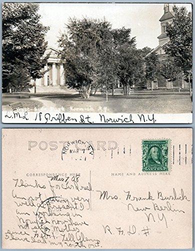 NORWICH N.Y. WEST SIDE PARK ANTIQUE 1908 REAL PHOTO POSTCARD RPPC
