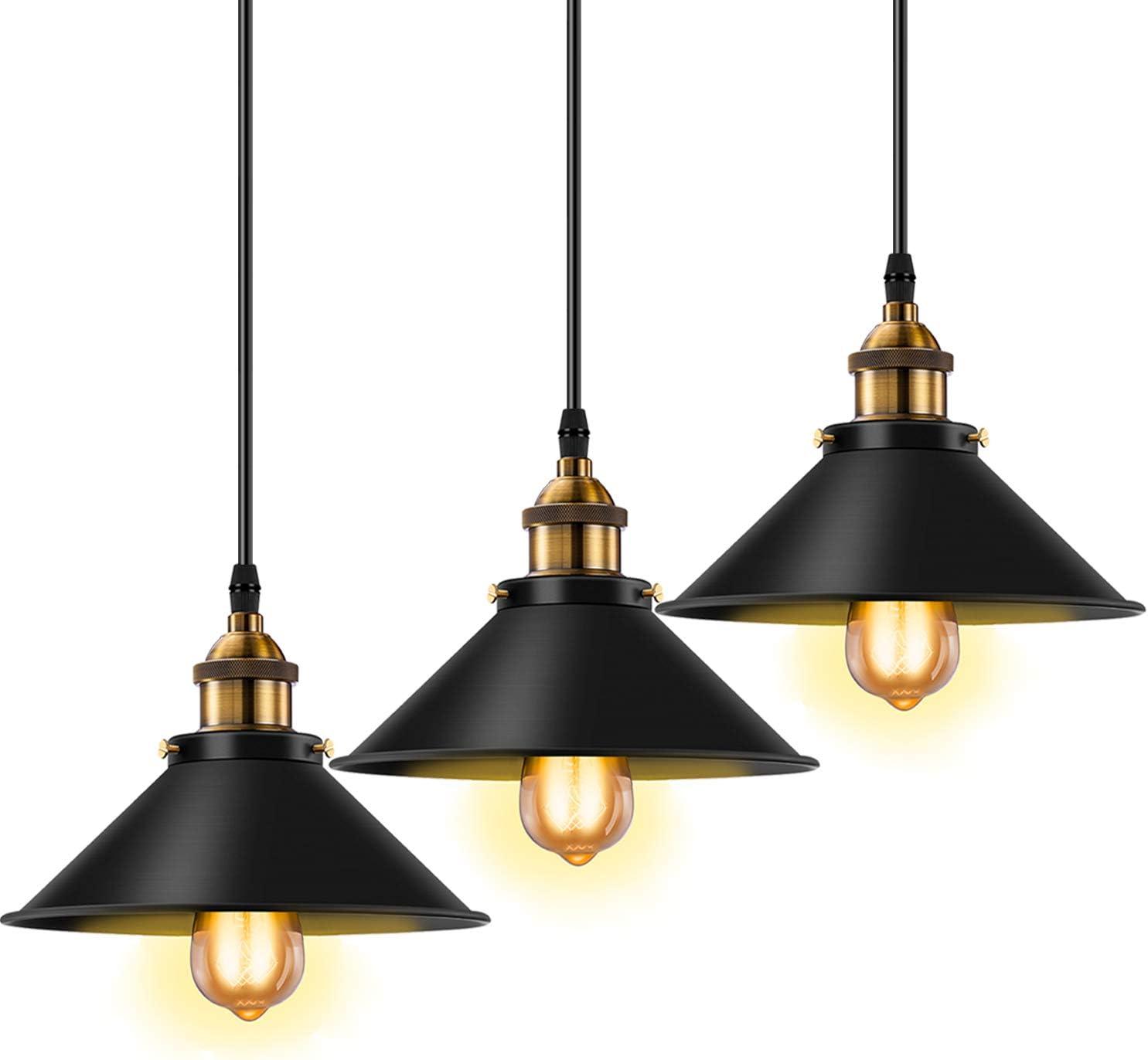 Licperron Industrial Pendant Light E26 E27 Base Vintage Hanging Pendant Lights Retro Pendant Light Fixture Home Kitchen Lighting 3 Pack