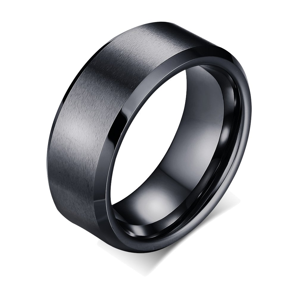 FANSING Couples 8mm Wedding Bands, Stainless Steel Ring, Titanium Rings, Tungsten Ring, Black, Size 5-14 FSJSF FS070002P