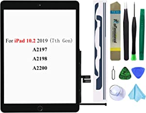 Black Touch Screen Replacement Parts Digitizer Glass Assembly for iPad 7 7th Generation 2019 10.2 inch (A2197 A2198 A2200) with Home Button+Pre-Installed Adhesive +Professional Tool Kit